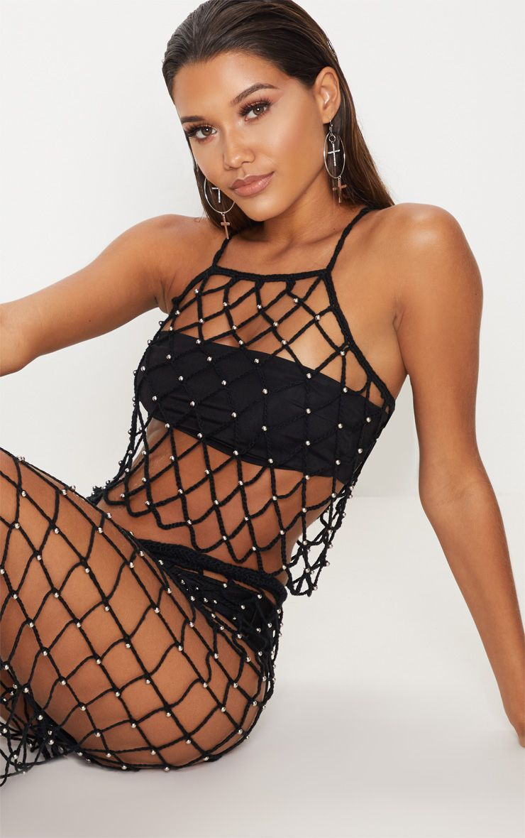 Black Crochet Beaded Crop Top