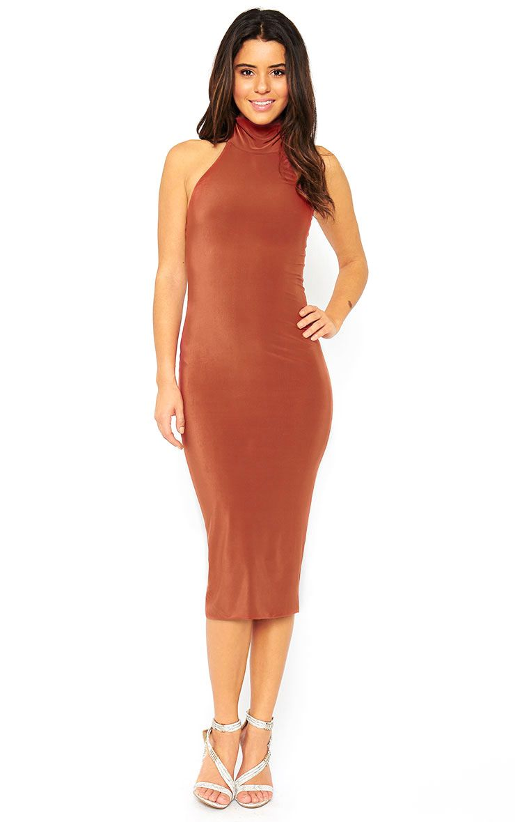 Monroe Rust High Neck Midi Dress 1