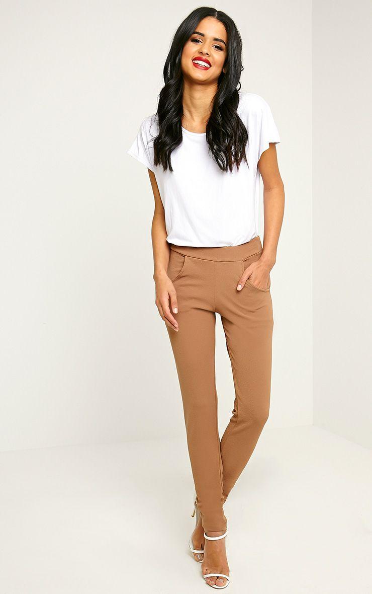 Sage Camel Crepe Cigarette Trousers 1