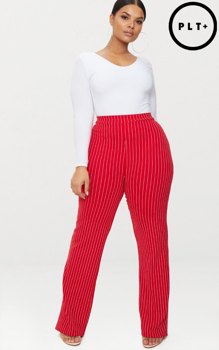 Plus Red Pinstripe Trousers