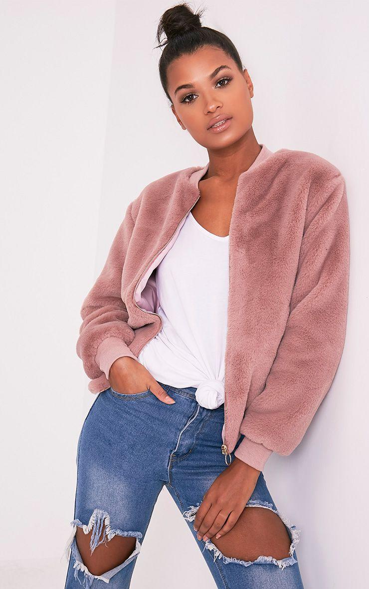 Jessenia Mauve Soft Faux Fur Bomber Jacket