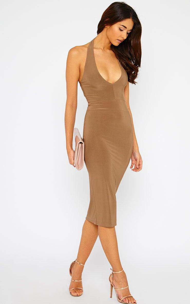 Lilly Mocha Slinky Halterneck Midi Dress 1