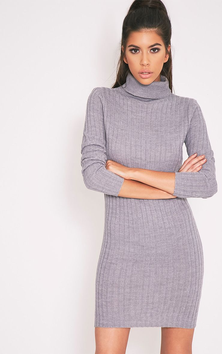Bianca Grey Ribbed Roll Neck Knitted Jumper Dress 1