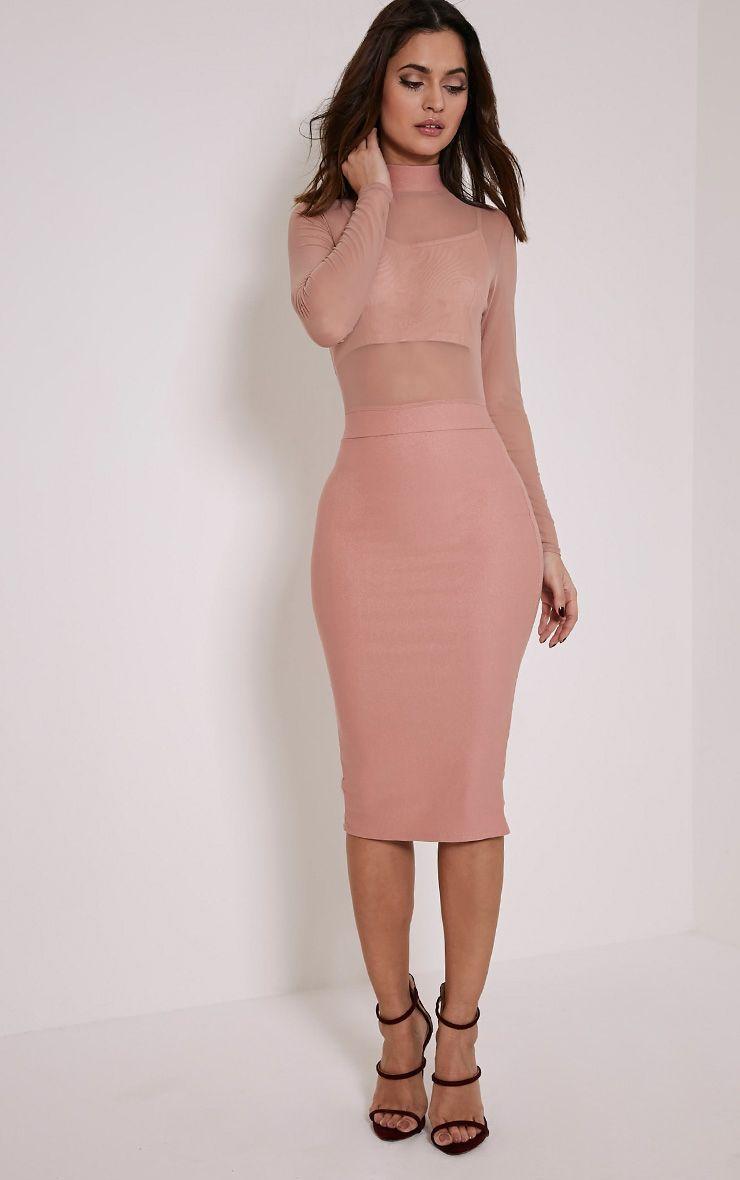 Kelly Mauve Mesh Top Midi Dress 1