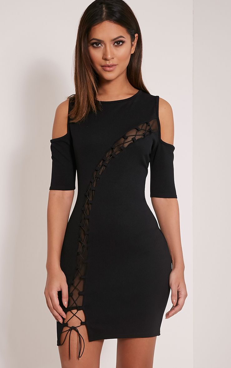 Aubrey Black Lace Up Cold Shoulder Bodycon Dress 1