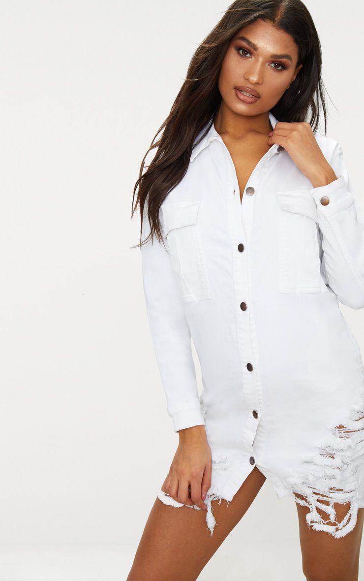 Robe chemise Quinnie en jean blanc déchiré