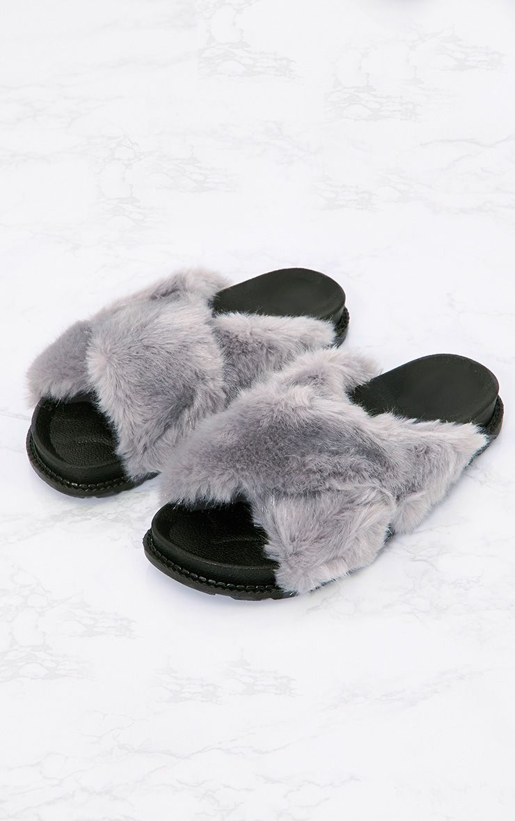 Grey Double Strap Fluffy Sliders