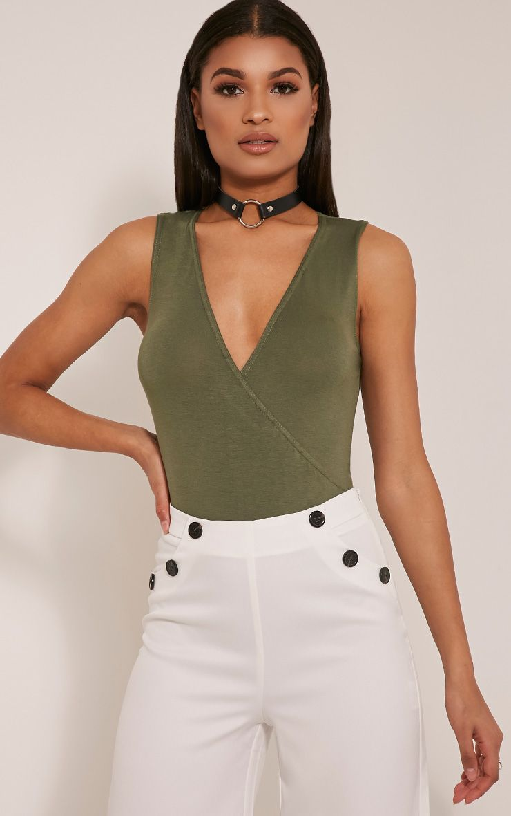 Sicily Khaki Sleeveless Cross Over Bodysuit