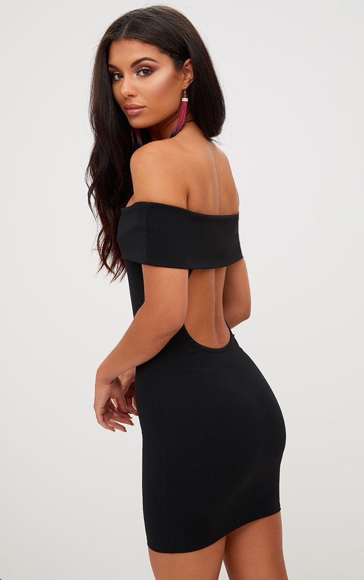 Black Open Back Bardot Bodycon Dress