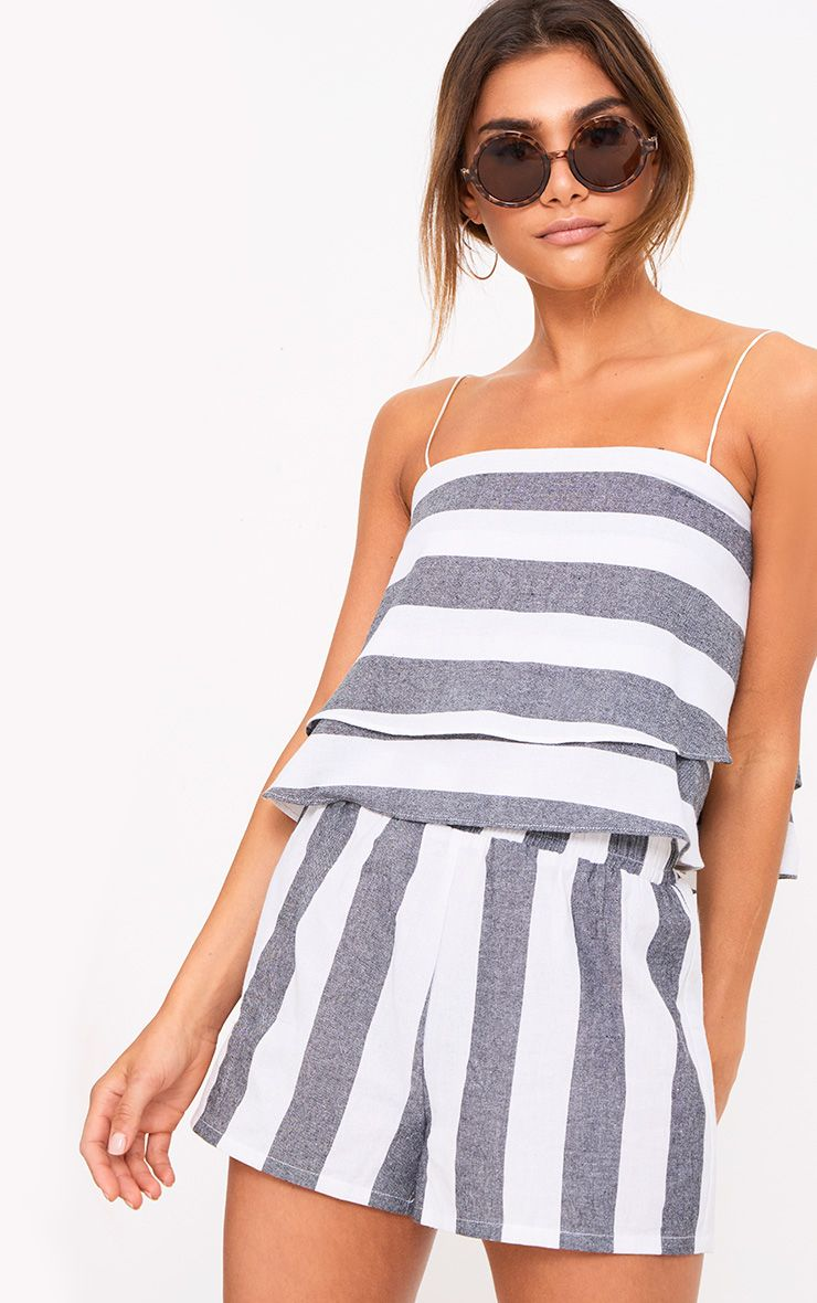 Grey Bold Stripe Beach Shorts