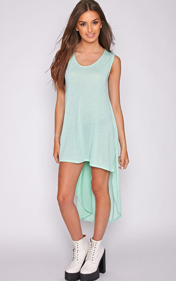 Skylar Mint Drop Hem Jersey Dress 1