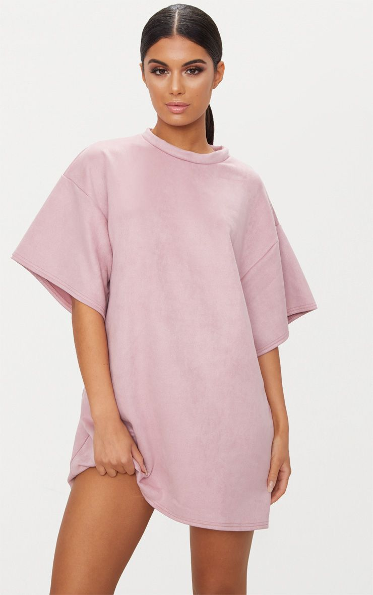 Pink Faux Suede Oversized T Shirt Dress