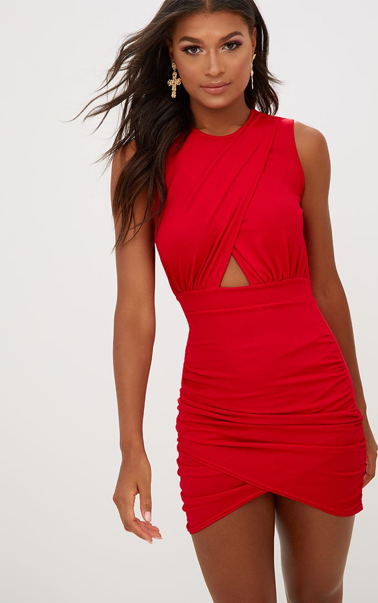 Red Cross Over Ruched Bodycon Dress