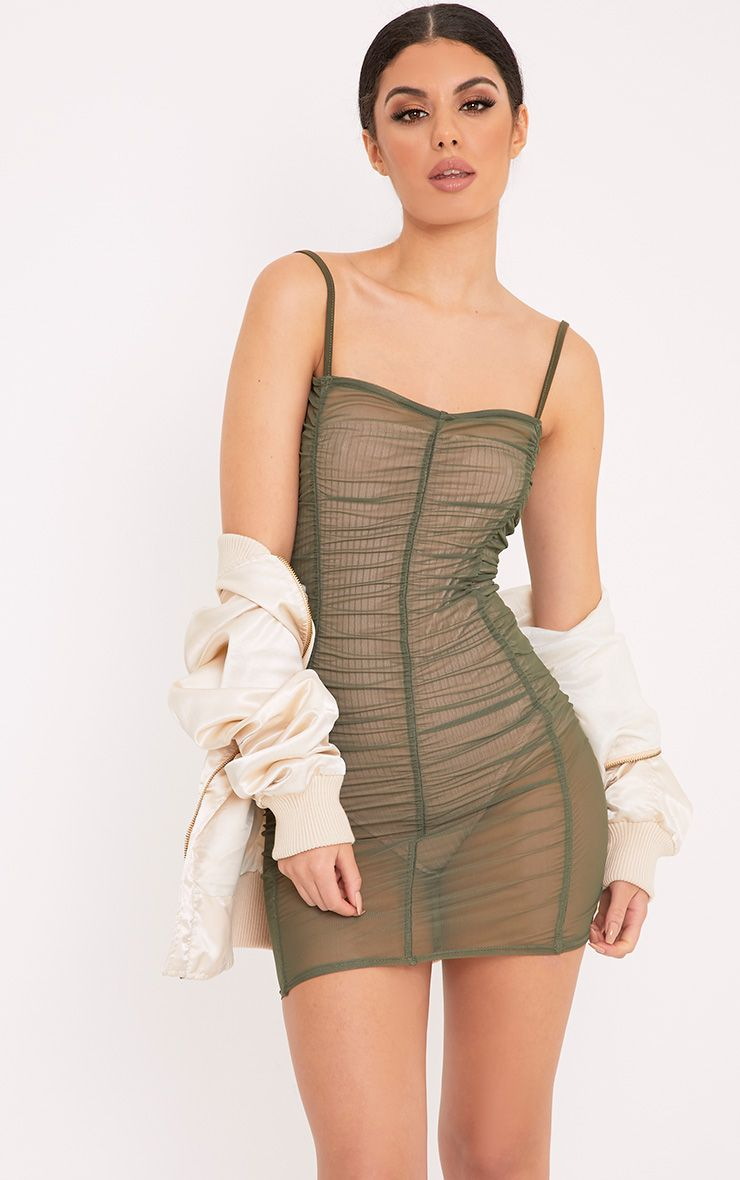 Anya Khaki Mesh Mini Dress