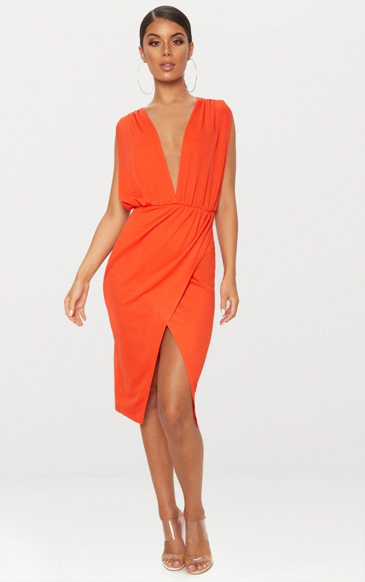 Bright Orange Ruched Shoulder Plunge Midi Dress