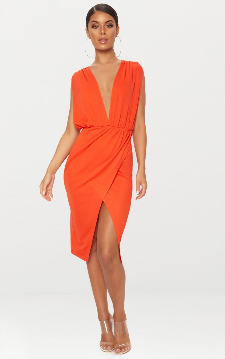 orange ruched plunge midi dress