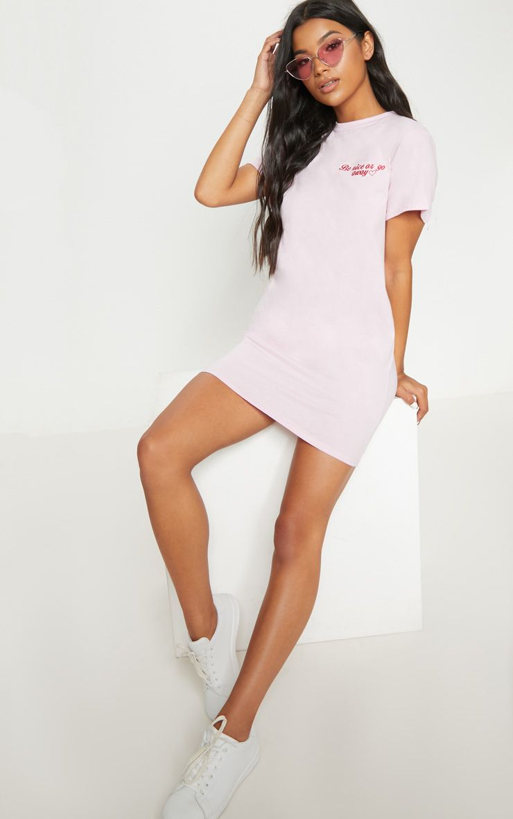 Pastel Pink Be Nice Embroidered T Shirt Dress