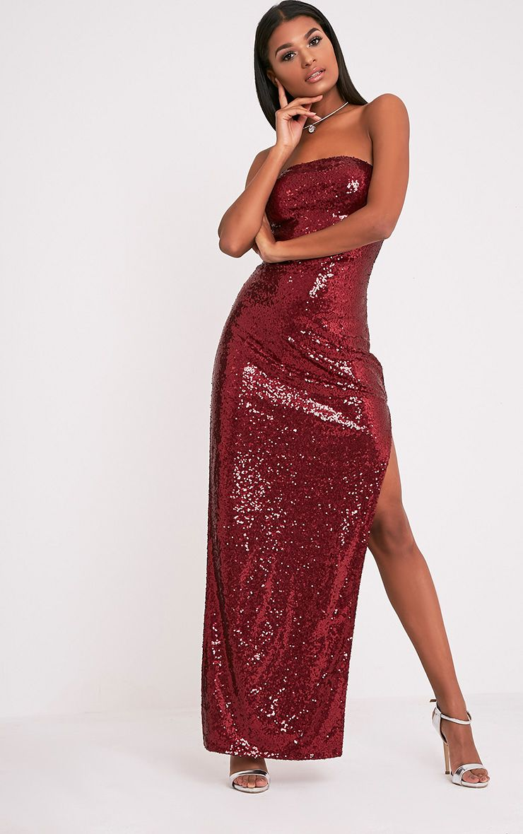 Kathie Burgundy Bandeau Sequin Maxi Dress