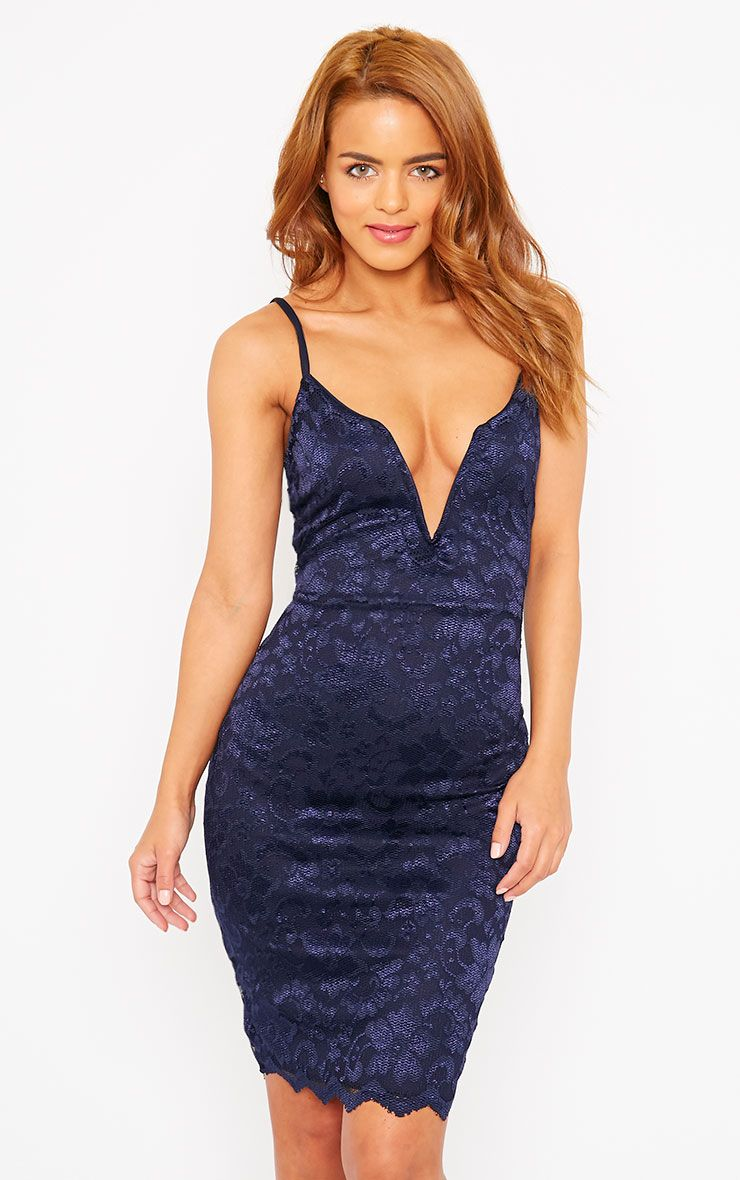 Casey Navy Scallop Lace Dress 1