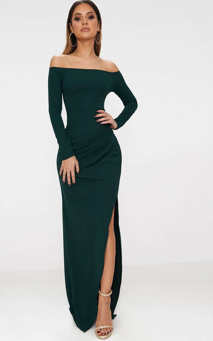 Emerald Green Wrap Over Long Sleeve Bardot Maxi Dress
