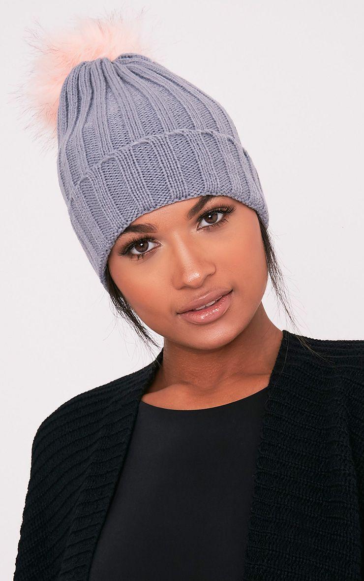 Alaxa Grey Knitted Pom Pom Beanie