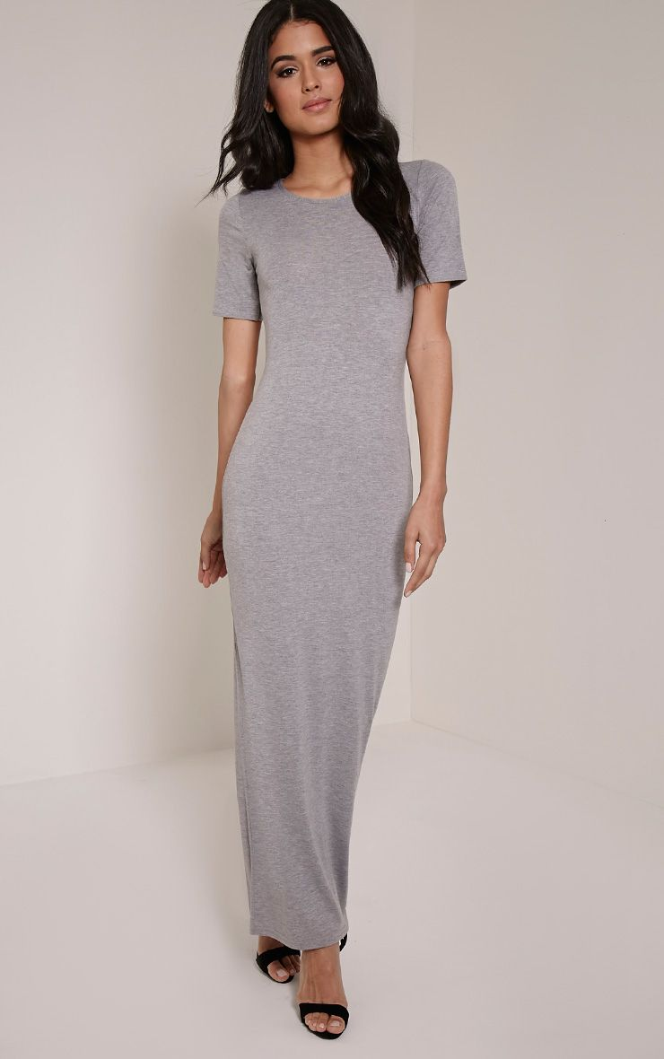 Basic Greymarl Round Neck Maxi Dress 1