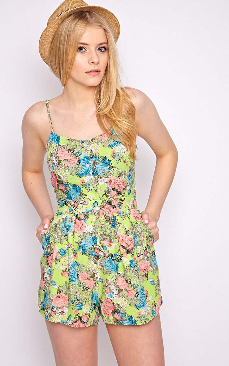 Carrie Green Floral Playsuit  1