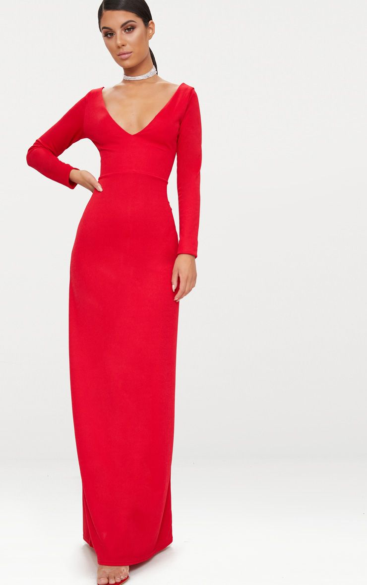 Red Backless Plunge Long Sleeve Maxi Dress