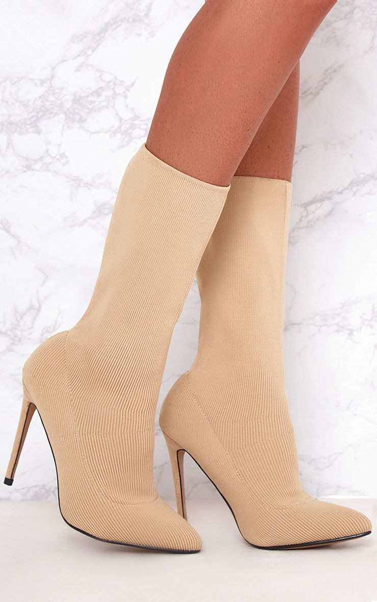 Nude Woven Sock Heeled Boots