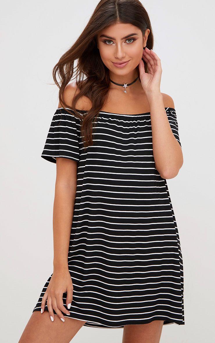 Black Stripe Bardot Shift Dress