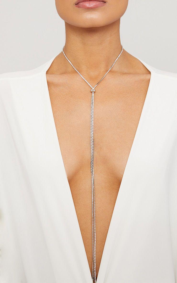 Silver Diamante Bolo Necklace 1
