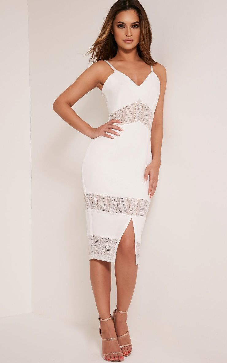Nicky White Strappy Lace Panel Midi Dress