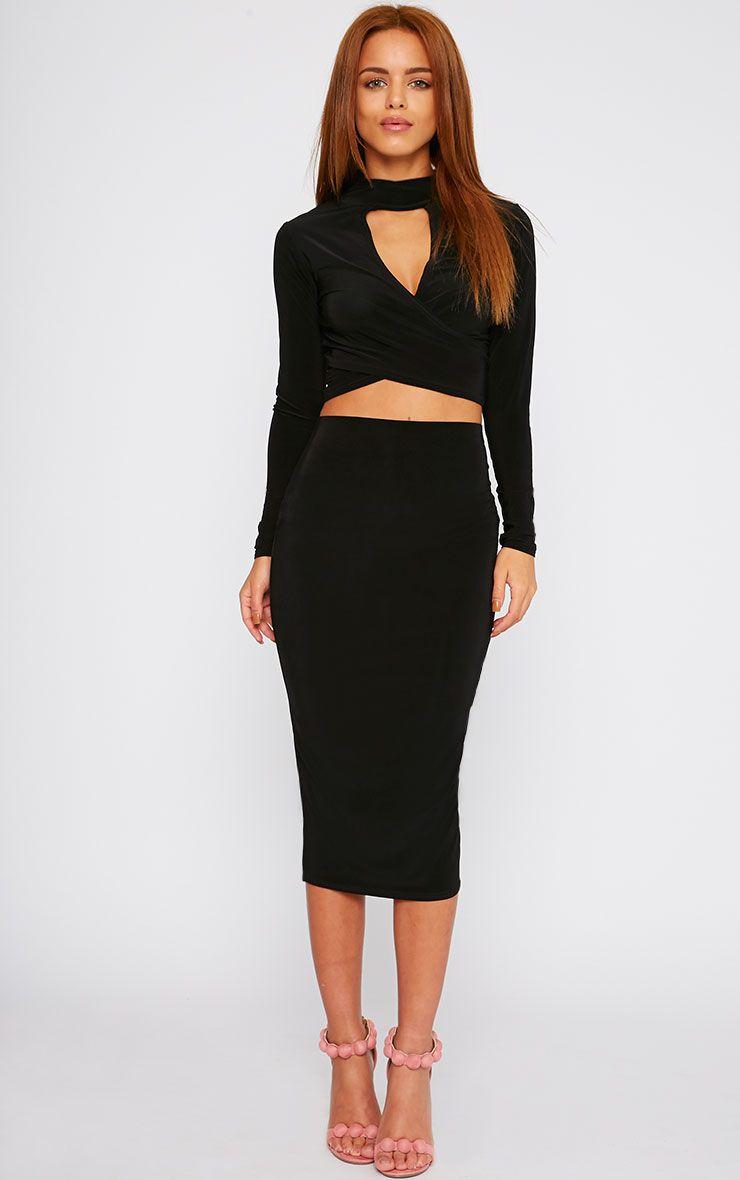 Siobhan Black Slinky Midi Skirt 1