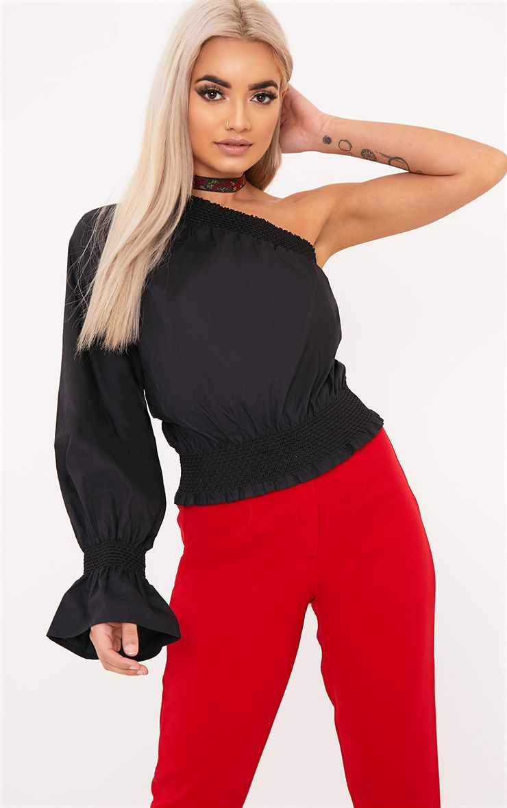 Macey Black One Shoulder Smocked Cotton Blouse