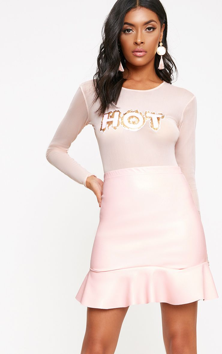 Pink PU Frill Hem Mini Skirt