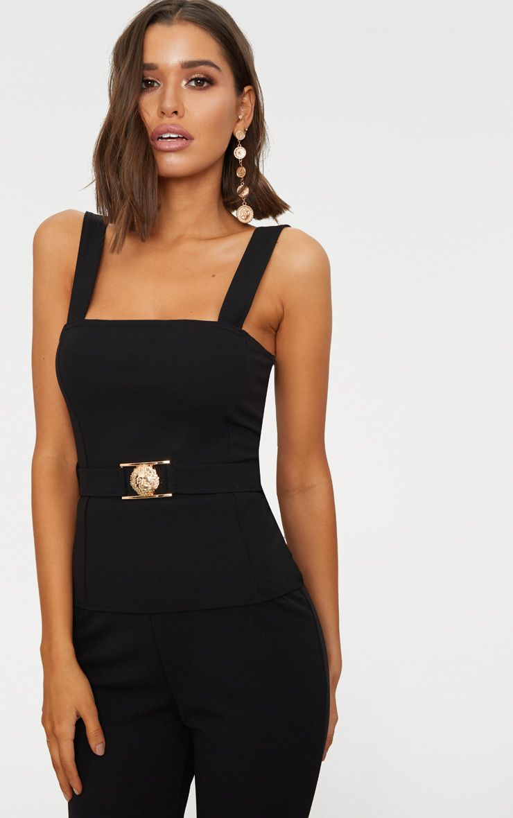 Sale Pay With Paypal Store Cheap Online Black Lion Clasp Square Neck Military Top Pretty Little Thing Eicm5