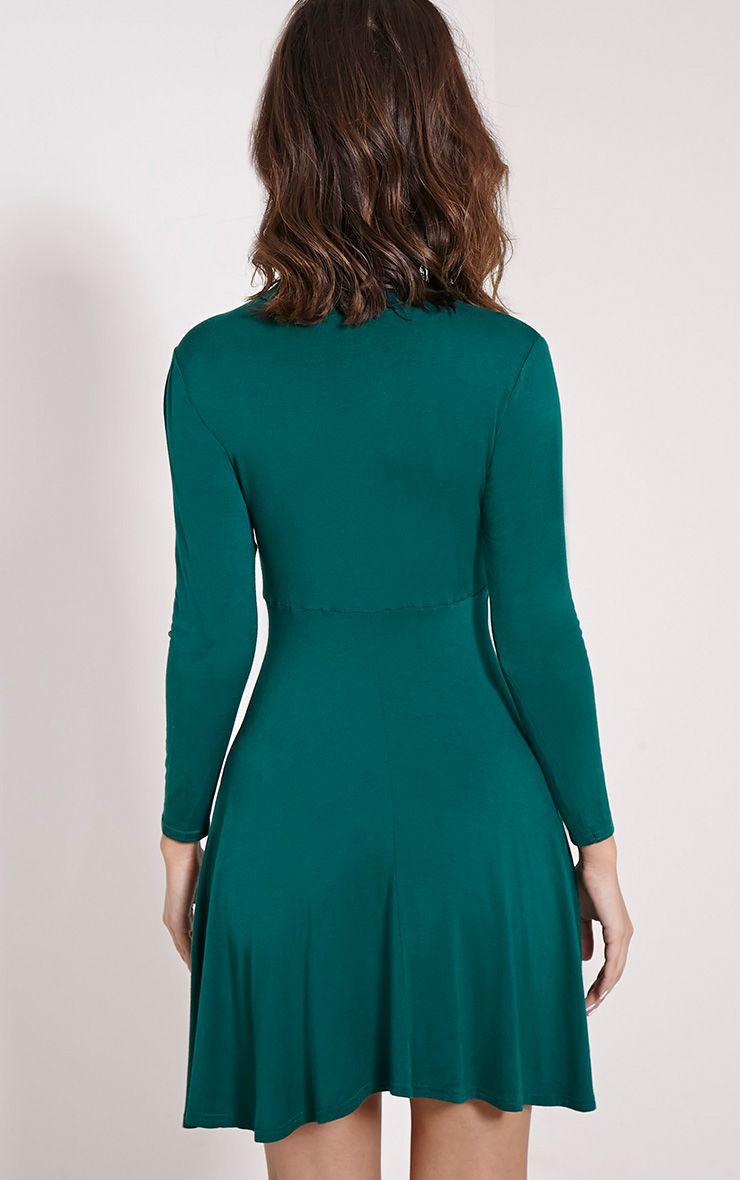 Una Bottle Green High Neck Long Sleeve Skater Dress