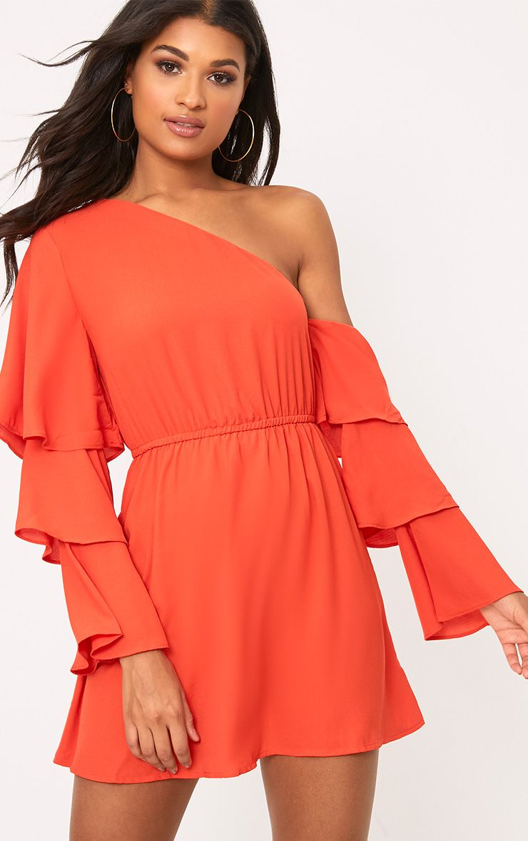 Camarah Coral One Shoulder Frill Sleeve Swing Dress 1