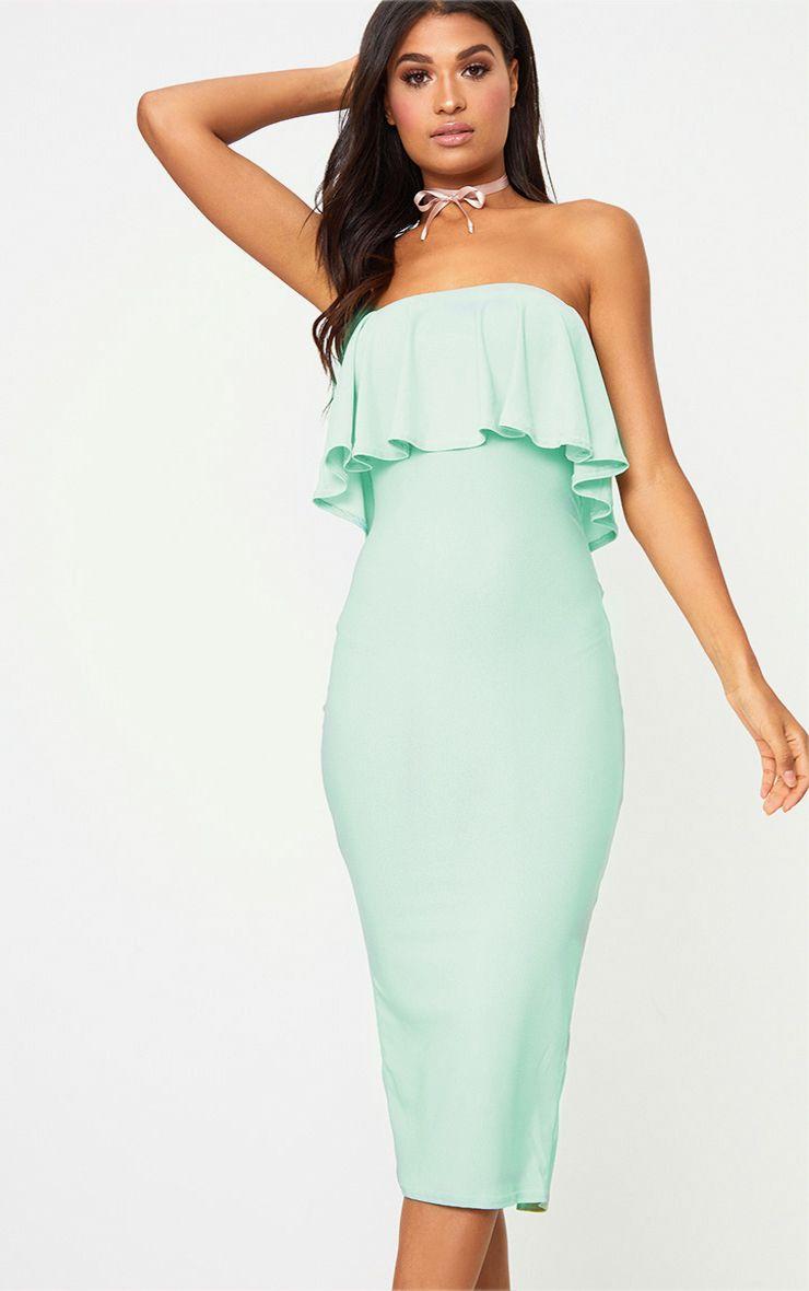 Sage Green Frill Bandeau Midi Dress