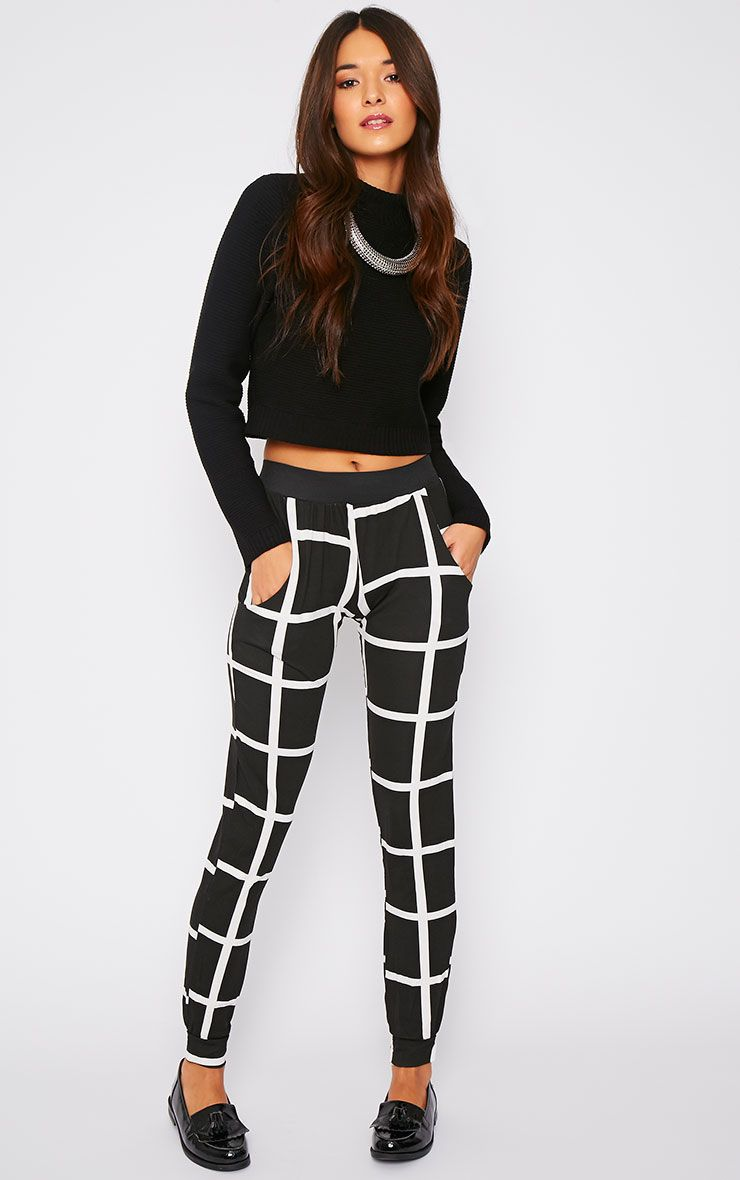 Leah Monochrome Square Print Trousers 1