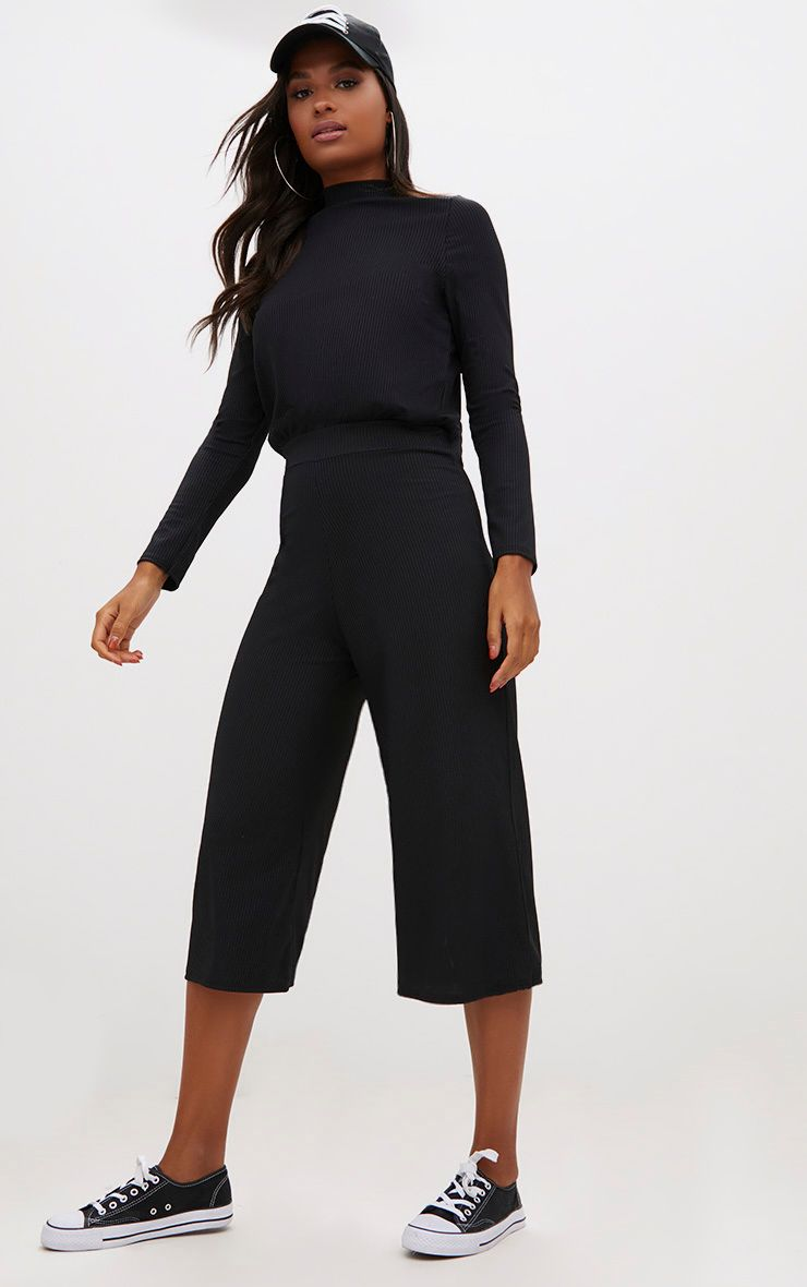 Black Ribbed High Neck Culotte Jumpsuit