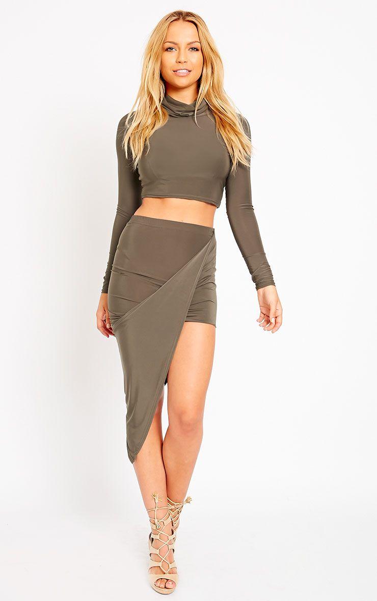 Alba Khaki Slinky Drape Skirt 1