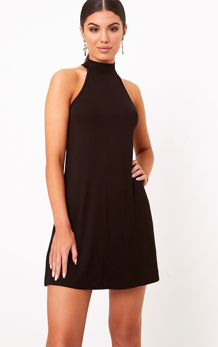 Black Jersey High Neck Swing Dress