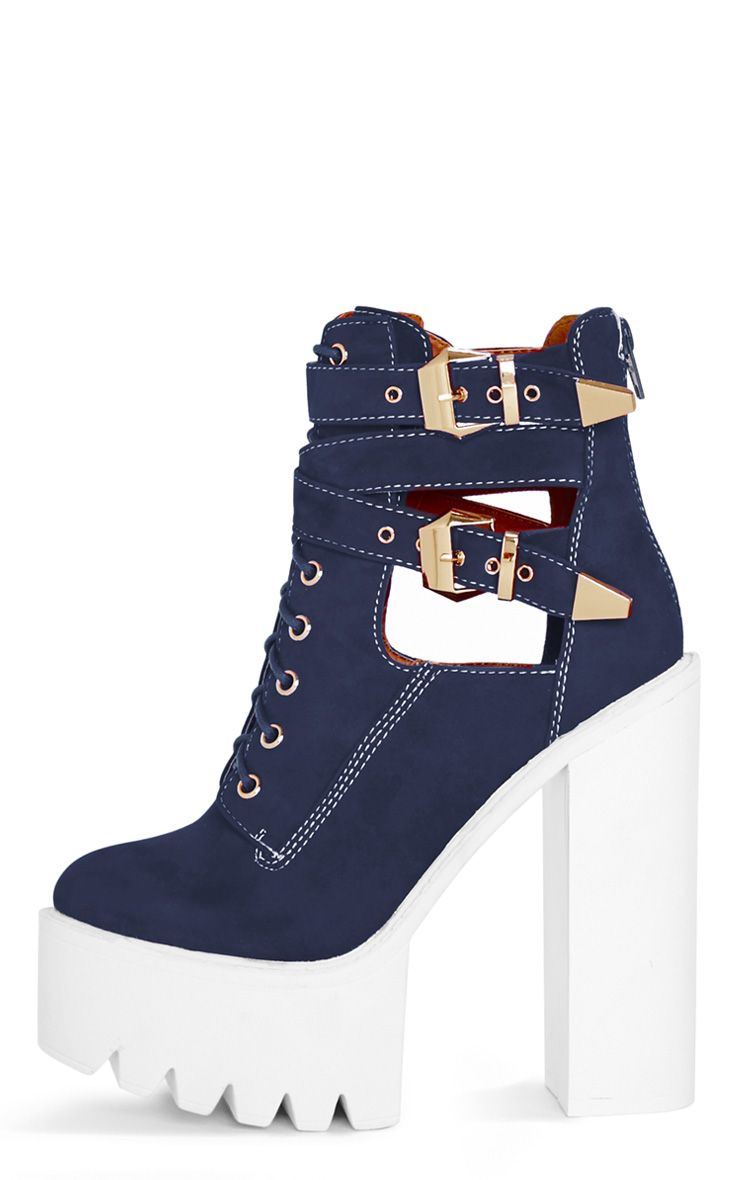 Alisia Navy Suedette Cleated Sole Extreme Heel Boot 1