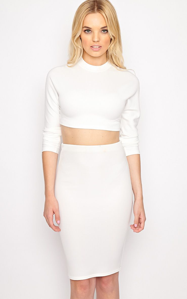 Megan White Turtle Neck Crop Top 1