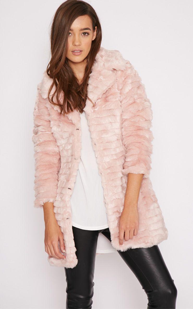 Priya Pink Fur Longline Coat  1