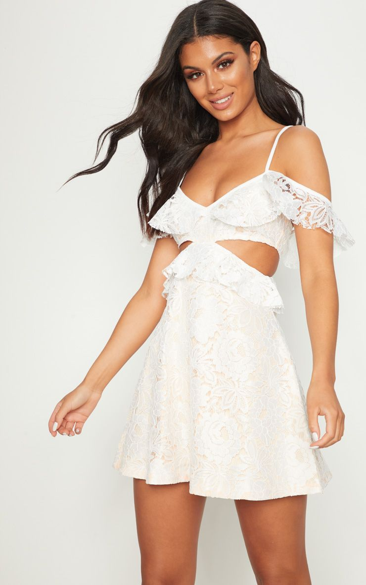 Cheap Low Shipping Best Supplier PRETTYLITTLETHING Bright Lace Frill Detail Cut Out Skater Dress Store With Big Discount 3nG9m