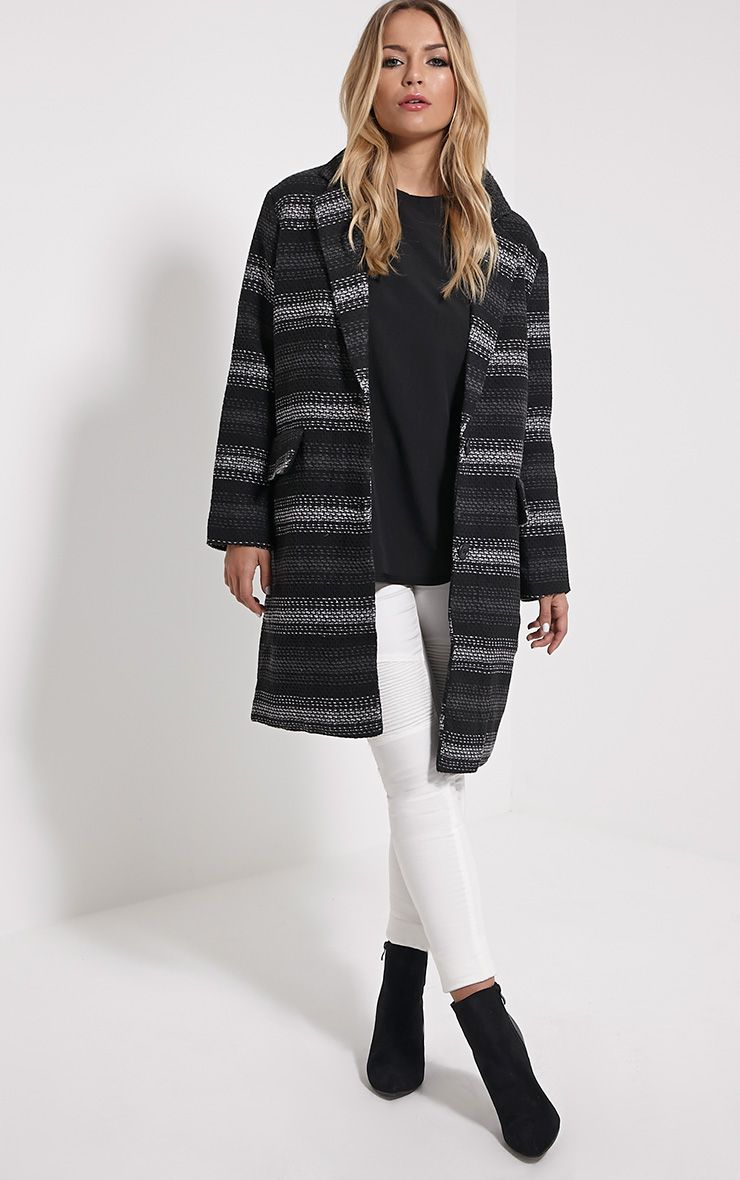 Zahli Grey Oversized Stripe Coat 1