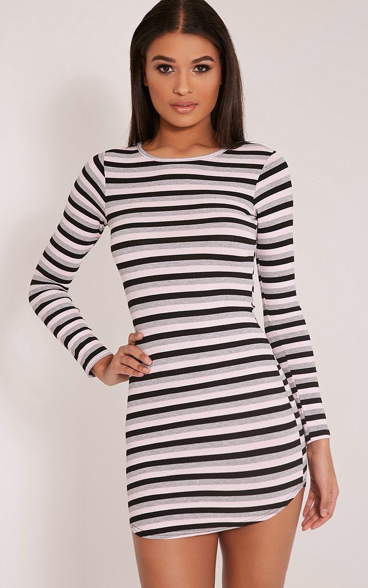 Peetra Pink Long Sleeve Curved Hem Stripe Dress 1
