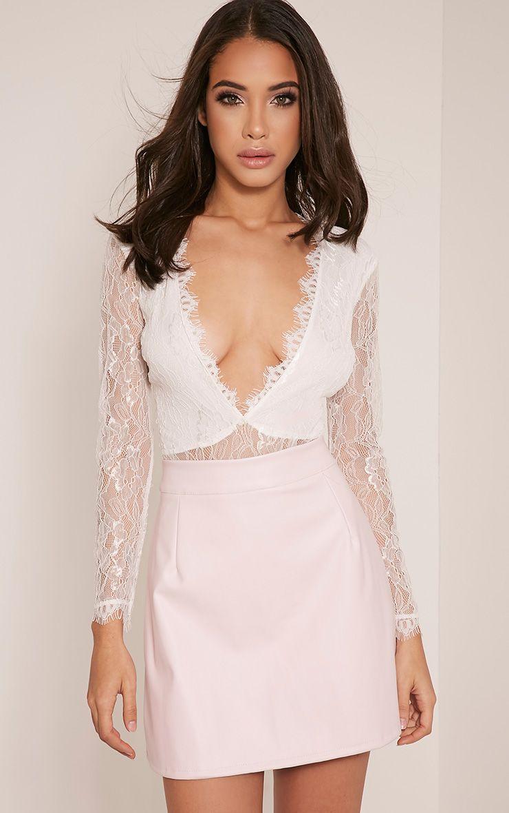 Corinna White Lace Plunge Long Sleeve Thong Bodysuit 1